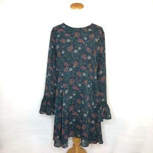 Xhilaration Boho Bell Sleeve Paisley Dress XXL